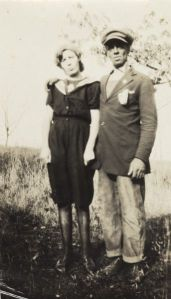 Bernard Arms, uncle of Lewis Arms, poses with his girlfriend Nellie, who he later married. Early 20th century. Credit: Wisconsin Historical Society.